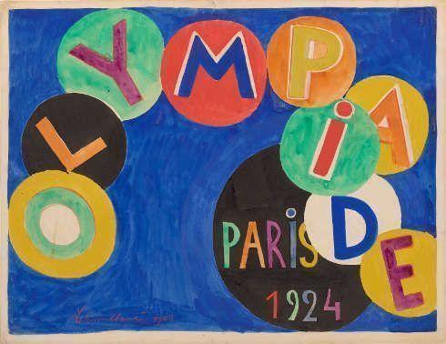 Robert Delaunay, Olympiade, Paris, 1923, Gouache auf Papier, gehöht mit roter Kreide, 65 x 50 cm (Bibliothèque nationale de France, Paris)