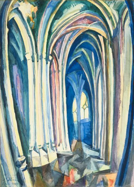 Robert Delaunay, Saint-Séverin, 1909, Aquarell und Bleistift auf Papier, 47,8 x 34 cm (Museum of Fine Arts, Boston, Bequest of Betty Bartlett McAndrew)