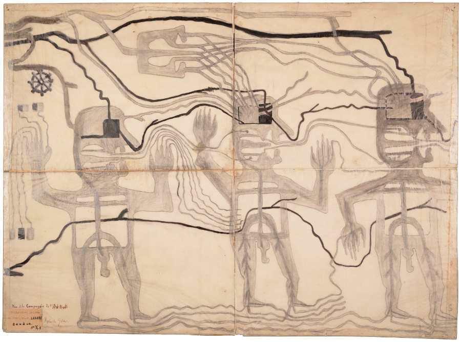 Robert Gie, Drei Personen, durchströmt von Ausdünstungen, um 1916, Grafitstift und Tusche auf Transparentpapier (Foto: Arnaud Conne, AN, Collection de l'Art Brut, Lausanne)