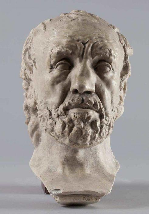 Auguste Rodin, Der Mann mit der gebrochenen Nase, 1864, Patinierter Gips, vollrunde Form, 32,4 x 19,3 x 17,8 cm (Musée Rodin, Paris, Agence photographique du Musée Rodin – Pauline Hisbacq)