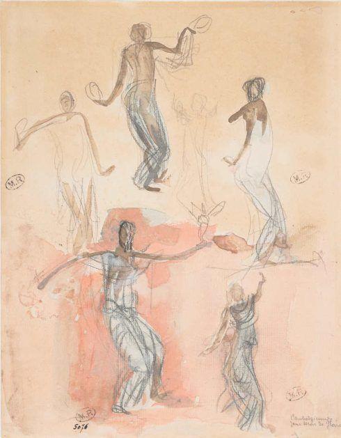Auguste Rodin, Sechs Studien von Tänzerinnen aus Kambodscha, Juli 1906, Graphitstift, Aquarell, Fettstift, Gouache, 27,1 x 21,2 cm (Musée Rodin, Paris Foto: Jean de Calan)