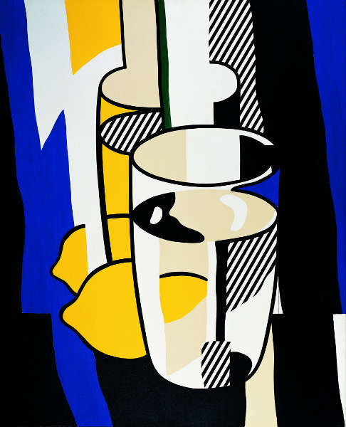 Roy Liechtenstein, Glas und Zitrone vor einem Spiegel, 1974 (Albertina, Wien. Sammlung Batliner)