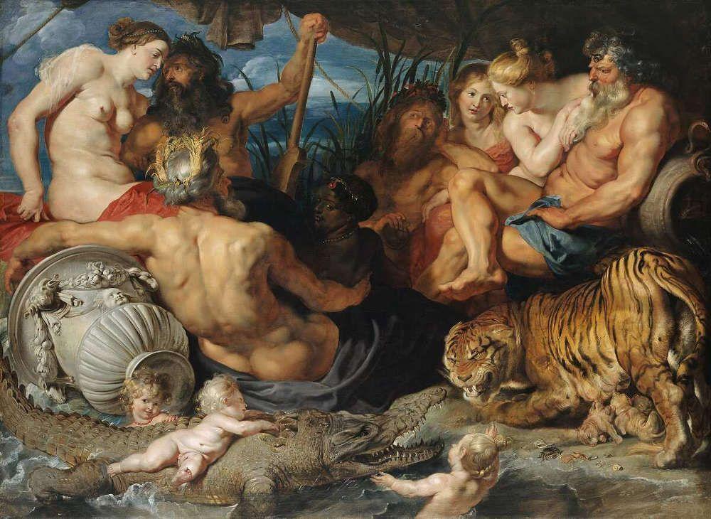 Peter Paul Rubens, Die vier Paradiesflüsse (Nil, Euphrat, Tigris und Ganges)), um 1615, Öl/Lw, 208 × 283 cm (Wien, Kunsthistorisches Museum, Gemäldegalerie, Inv. GG 526 © KHM-Museumsverband)