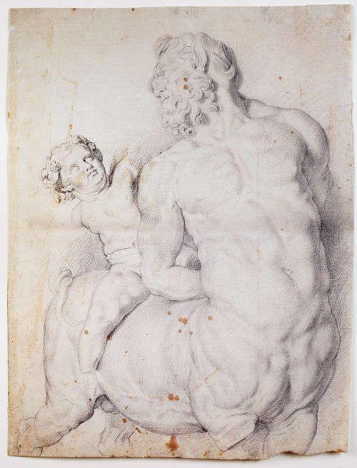 Peter Paul Rubens, Kentaur, von links, Italien 1600-1608, schwarze Kreide (Wallraf-Richartz-Museum & Fondation Corboud, Z 05888, Köln)