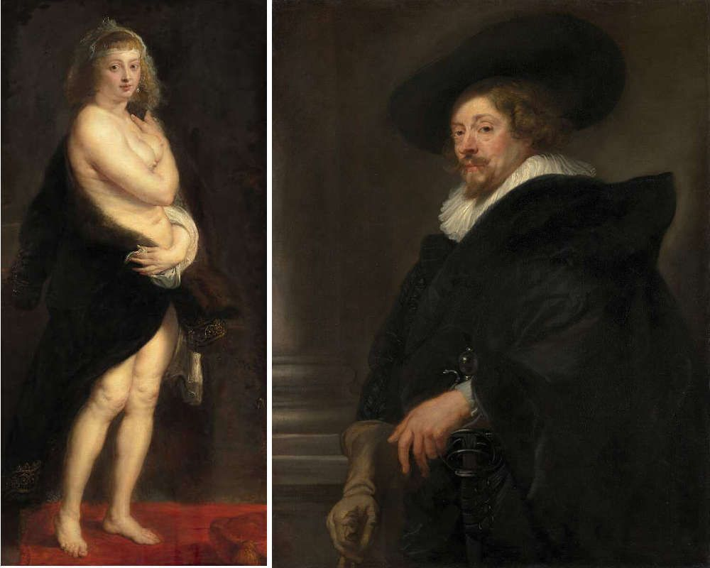 "Peter Paul Rubens, Helena Fourment (""Das Pelzchen""), um 1636/1638, Öl auf Eichenholz, 176 x 83 cm und Selbstbildnis, um 1638, Öl auf Leinwand, 110 cm x 85,5 cm x 2,4 cm (© KHM - Museumsverband)"