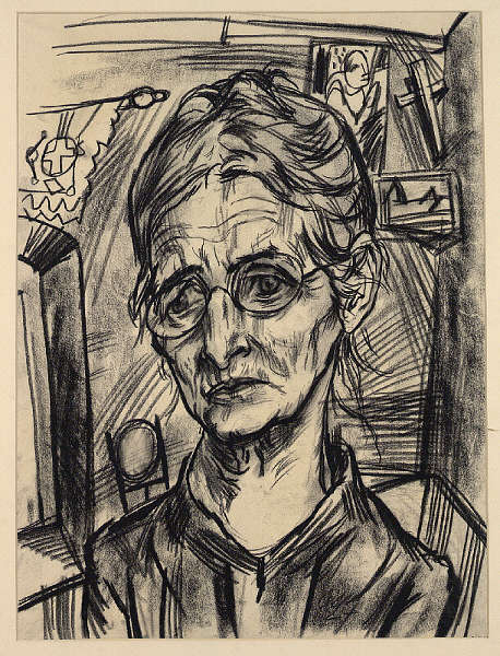 Rudolf Wacker, Bildnis Frau Rosalie Haller (?), 1924, Kreide, 42,5 x 31,6 cm(Albertina, Wien, Inv.-Nr. 26423)