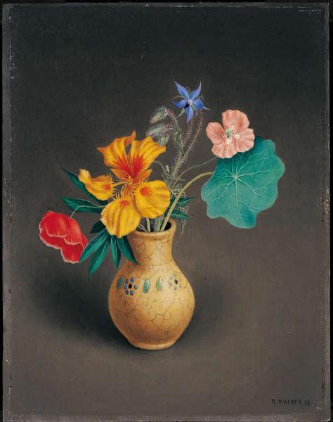 Rudolf Wacker, Blumensträusschen mit Borretsch, 1936, Öl-Holz, 30,5 x 24 cm (Sammlung Batliner, Albertina, Wien, Inv-Nr. GE224DL)