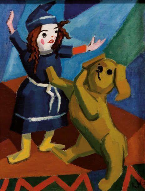 Rudolf Wacker, Stillleben mit Puppe und Hund, um 1923 (© Leopold Privatsammlung, Foto: Leopold Museum, Wien/Manfred Thumberger)
