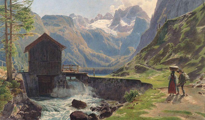 Rudolf von Alt, Der Dachstein im Salzkammergut vom Vorderen Gosausee (Guckkastenblatt), Detail, 1840 (Albertina, Wien)