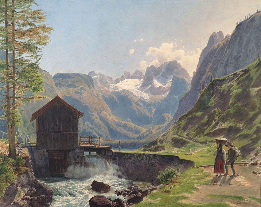 Rudolf von Alt, Der Dachstein im Salzkammergut vom Vorderen Gosausee (Guckkastenblatt), 1840 (Albertina, Wien)