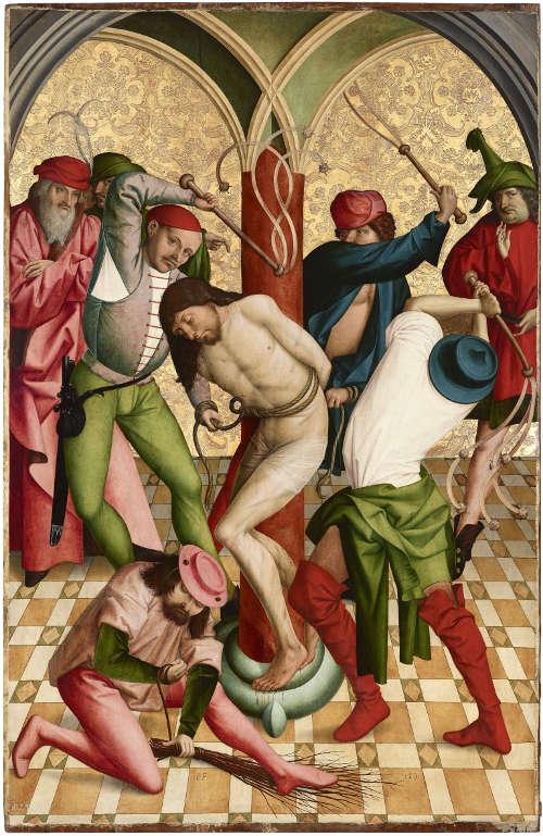 Rueland Frueauf d. Ä., Geißelung Christi, 1491, Malerei auf Fichtenholz 208,3 x 134,6 cm (Belvedere, Wien)