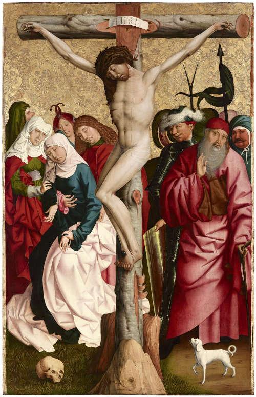 Rueland Frueauf d. Ä., Kreuzigung Christi, um 1490/91, Malerei auf Fichtenholz 209,5 × 134,6 cm (Belvedere, Wien)