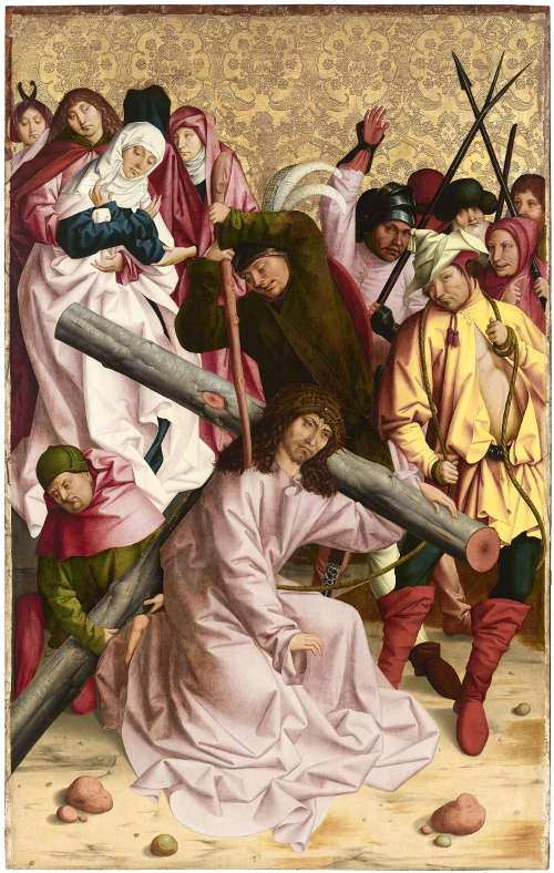 Rueland Frueauf d. Ä., Kreuztragung Christi, um 1490/91, Malerei auf Fichtenholz 211,7 x 134,7 cm (Belvedere, Wien)