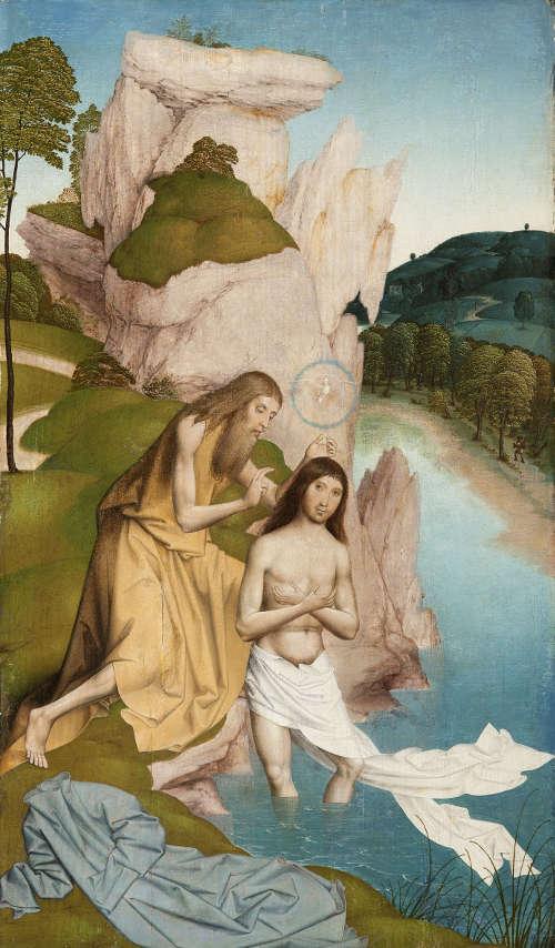 Rueland Frueauf d. J., Taufe Jesu, Anfang 16. Jh., Malerei auf Fichtenholz, 74 x 43 cm (© Stiftmuseum Klosterneuburg)