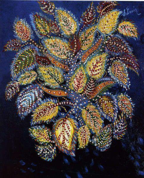 Séraphine Louis, Feulles diaprees sur fond bleu (Privatsammlung)