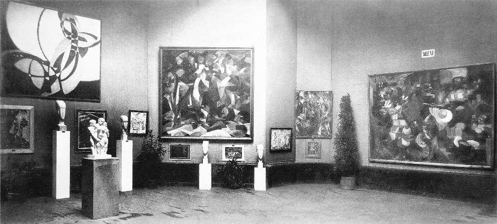 Salon d'Automne 1912, Paris, Ausstellungsansicht mit Werken von Kupka, Modigliani, Csaky, Picabia, Metzinger, Le Fauconnier