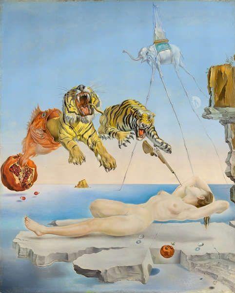 Salvador Dalí, Traum verursacht durch den Flug einer Biene um einen Granatapfel vor dem Erwachen, 1944 (Museo Nacional Thyssen-Bornemisza, Madrid© Fundació Gala-Salvador Dalí, Figueres/ VG Bild-Kunst, Bonn 2020)