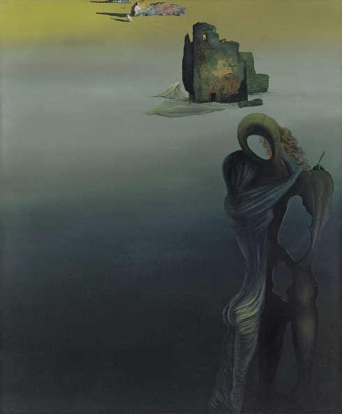 Salvador Dalí, Gradiva findet die anthropomorphen Ruinen wieder (Rückblickende Fantasie), 1931/32, Öl auf Leinwand, 65 x 54 cm (Museo Nacional Thyssen-Bornemisza, Madrid © Salvador Dalí, Fundació Gala-Salvador Dalí / Bildrecht, Wien 2019)
