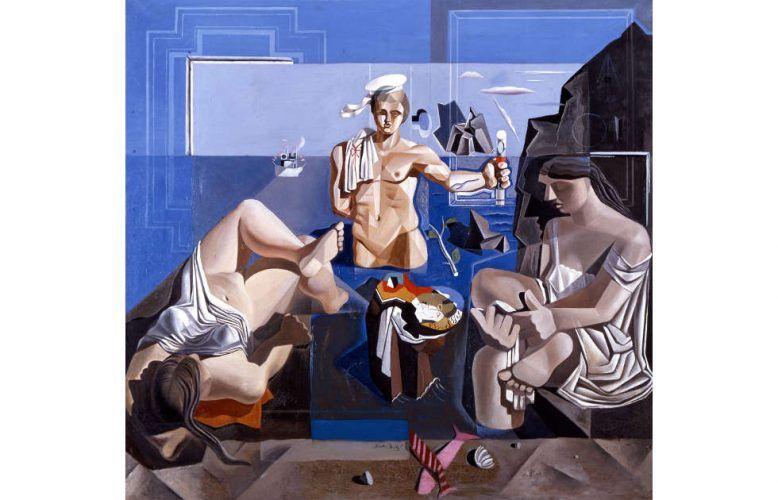 Salvador Dalí, Komposition mit drei Figuren (Neokubistische Akademie), 1926, Öl auf Leinwand, 190 x 200 cm (Museu de Montserrat, Montserrat © Salvador Dalí, Fundació Gala-Salvador Dalí / Bildrecht, Wien 2019)