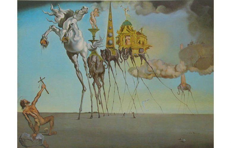 Salvador Dalí, Versuchung des hl. Antonius, 1946, Öl/Lw, 89,7 x 119,5 cm (Musée d'Art Moderne, Brüssel)