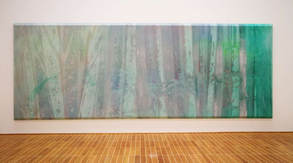 Sam Gilliam, Green April, 1969, Ausstellungsansicht Basel 2018, Foto: Alexandra Matzner, ARTinWORDS, © Sam Gilliam