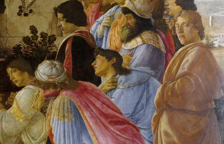 Sandro Botticelli, Anbetung der Könige, Detail mit vermutetem Selbstbildnis (Zanobi Altar) (Uffizien)