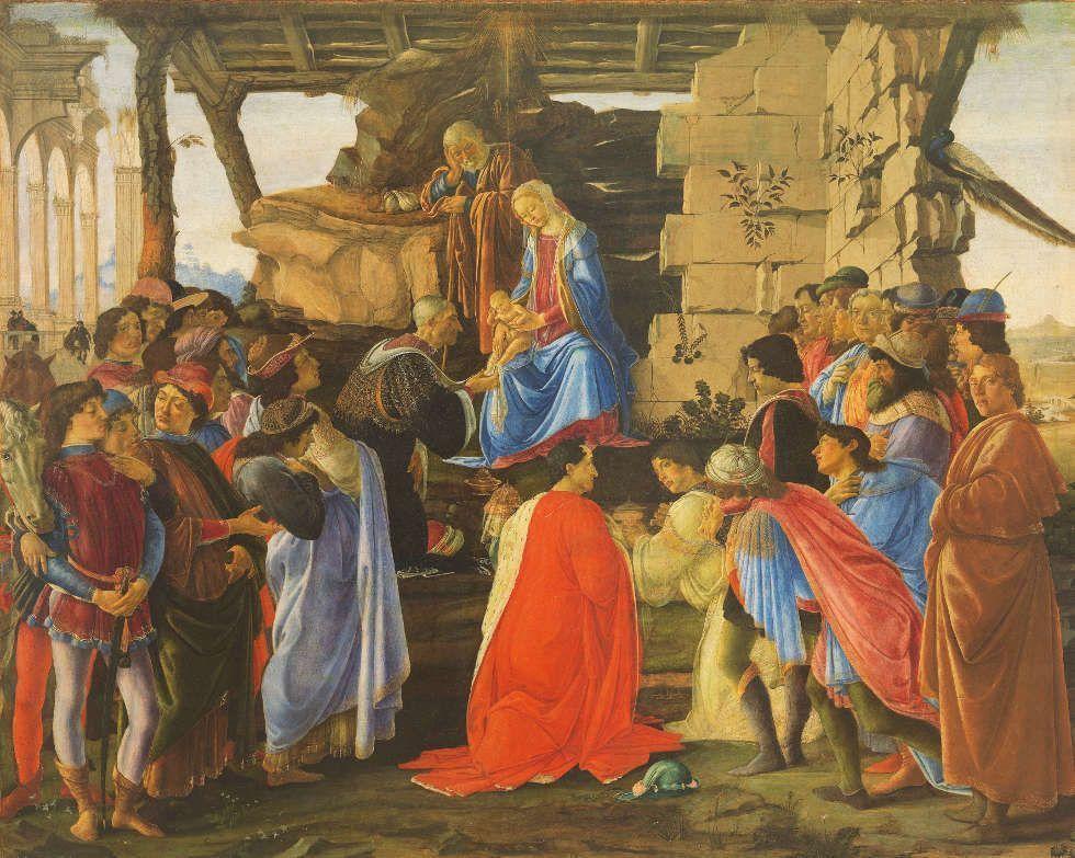 Sandro Botticelli, Anbetung des Kindes durch die Heiligen Drei Könige, um 1475, Holz, 111 x 143 cm (Florenz, Galleria degli Uffizi © Florenz, Gabinetto Fotografico delle Gallerie degli Uffizi)