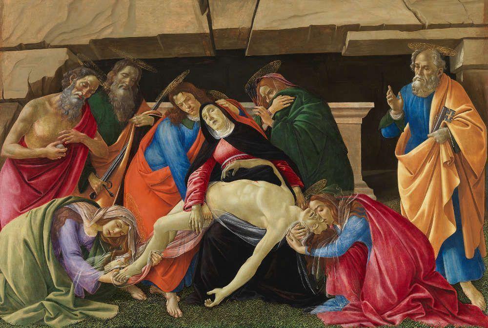 Sandro Botticelli, Beweinung Christi, um 1490/95, Pappelholz, 140 × 209,2 × 3,5 cm (gesamt), 139,6 × 207 cm (Malfläche) (Alte Pinakothek, München, Inv. Nr. 107)
