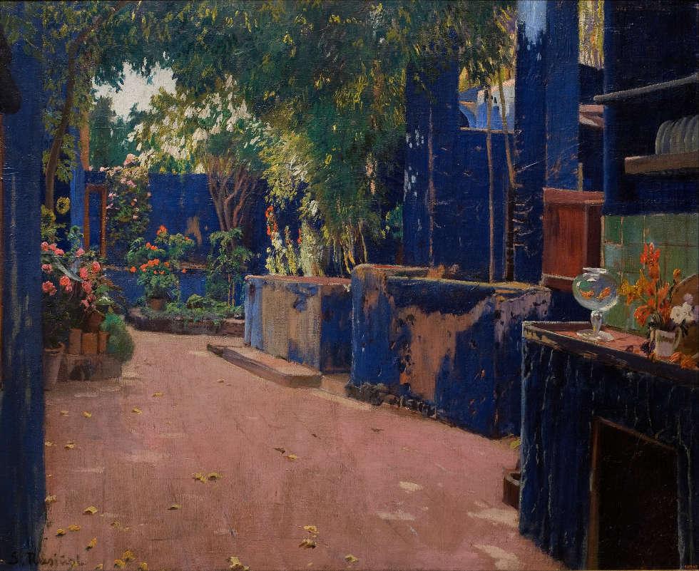 Santiago Rusiñol, Der blaue Hof. Arenys de Munt, 1913 (Museu Nacional d'Art de Catalunya)