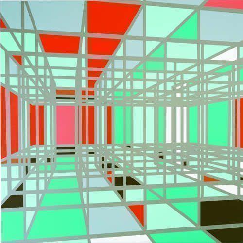 Sarah Morris, State Department (Capital), 2002, Lackfarbe auf Leinwand, 214 x 214 cm (evn sammlung, Maria Enzersdorf, Courtesy Galerie Meyer Kainer, Wien, Foto: Galerie Meyer Kainer, Wien)
