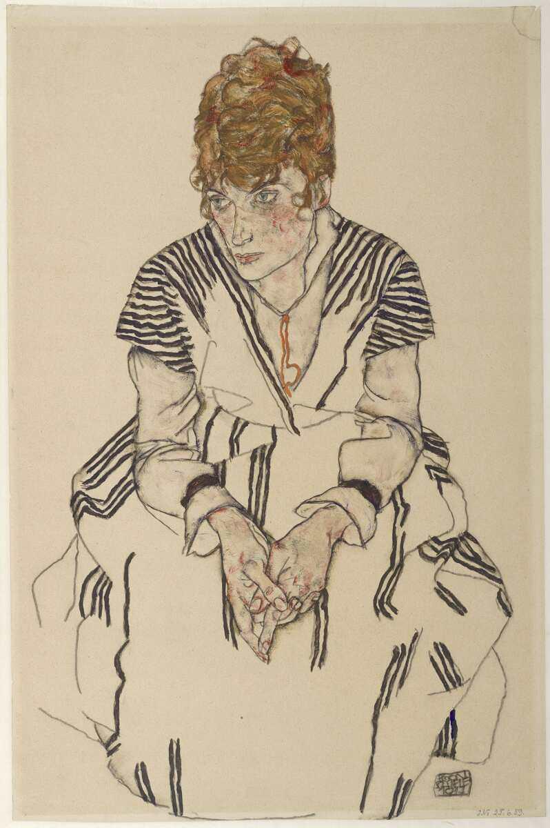 Egon Schiele, Adele Harms, die Schwägerin des Künstlers, 1917, Schwarze Kreide und Deckfarbe auf Japanpapier (© Albertina, Wien)