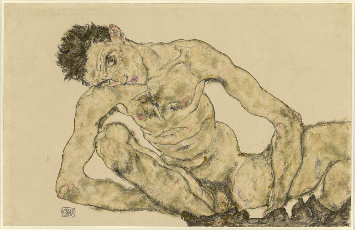 Egon Schiele, Aktselbstbildnis, 1916, Bleistift, Deckfarben (Albertina, Wien)
