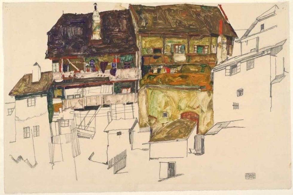 Egon Schiele, Alte Häuser in Krumau, 1914, Bleistift und Deckfarben auf Japanpapier (Albertina, Wien)