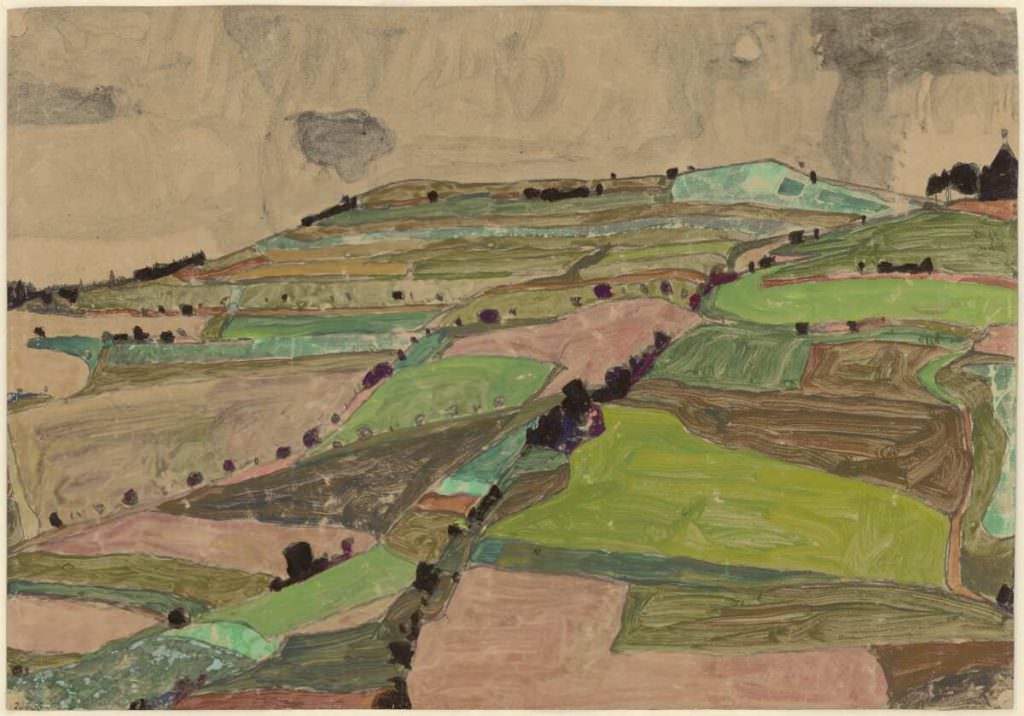 Egon Schiele, Felderlandschaft (Kreuzberg bei Krumau), 1910, Schwarze Kreide, Aquarell, Deckfarben auf braunem Packpapier (Albertina, Wien)