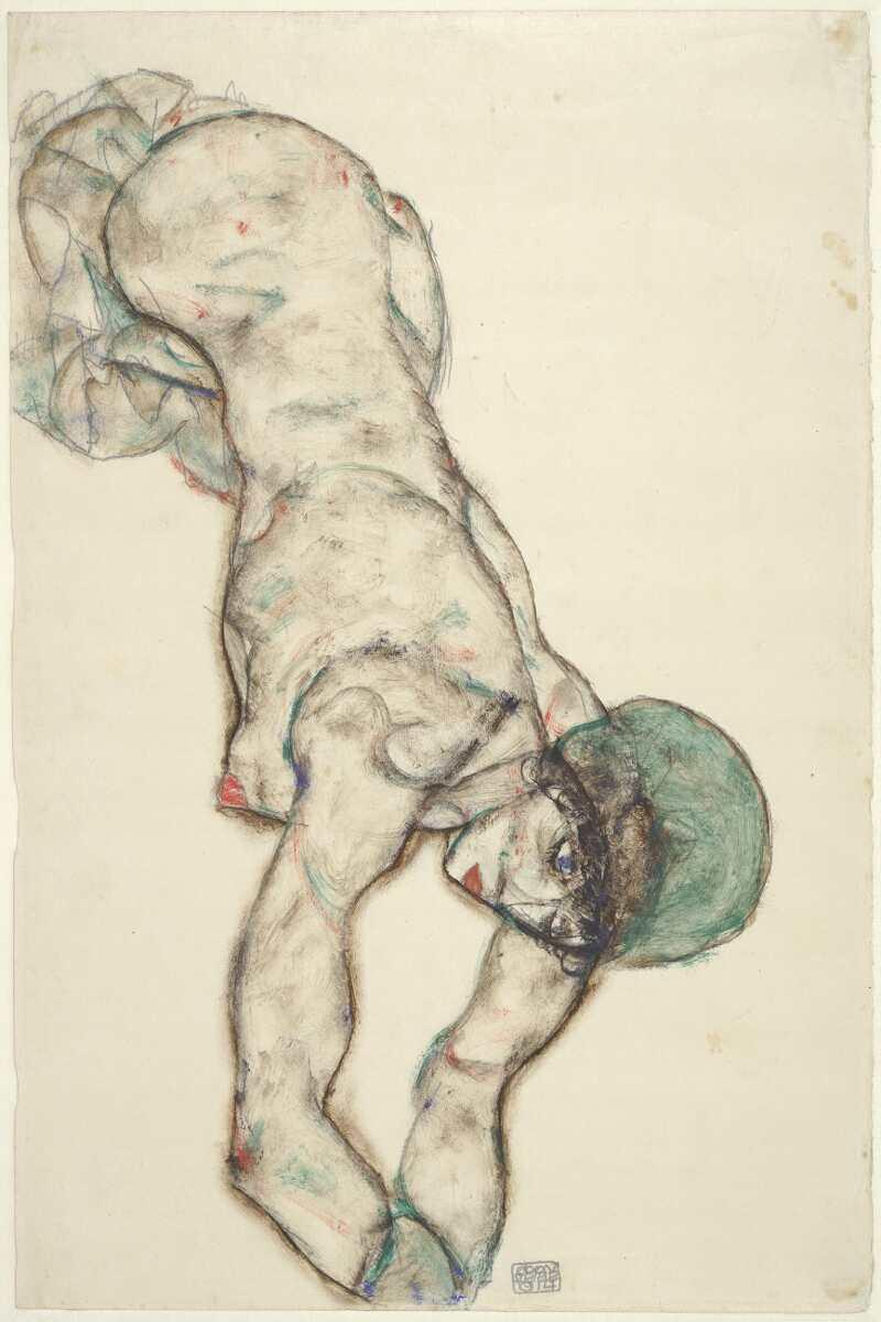 Egon Schiele, Frauenakt mit grüner Haube, 1914, Bleistift, Aquarell, Deckfarben auf Japanpapier (Albertina, Wien)