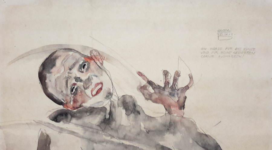 Egon Schiele, Ich werde für die Kunst und meine Geliebten gerne ausharren, Detail, 25. April 1912, Bleistift und Aquarell auf Strathmore-Japanpapier, 31,8 x 48,2 cm (Albetina)