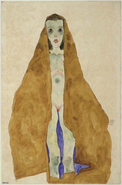 Egon Schiele, Junger Mädchenakt im ockerfarbigen Tuch, 1911, Bleistift, Aquarell auf Japanpapier, grundiert (Albertina, Wien)