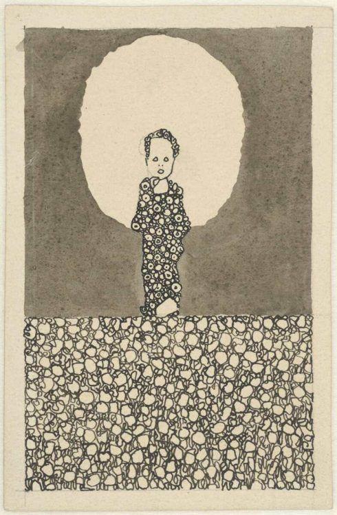 Egon Schiele, Kind mit Nimbus auf einer Blumenwiese, um 1909, Bleistift, Tusche laviert, auf Zeichenpapier (Albertina, Wien)