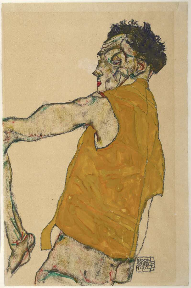 Egon Schiele, Selbstbildnis in gelber Weste, 1914, Bleistift und Deckfarben auf Japanpapier (© Albertina, Wien)