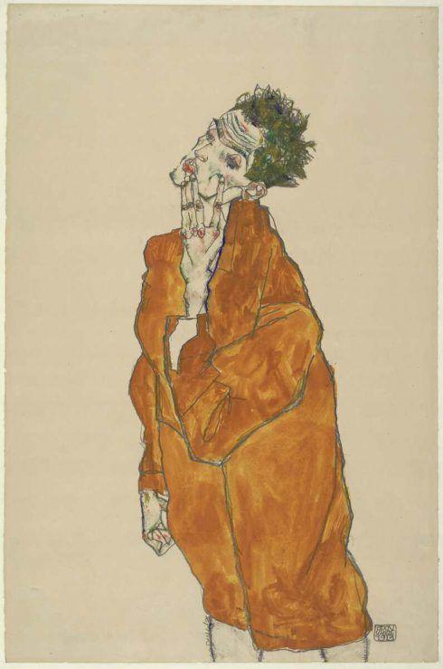 Egon Schiele, Selbstbildnis in oranger Jacke, 1913, Bleistift, Aquarell, Deckfarben, auf Japanpapier (Albertina, Wien)