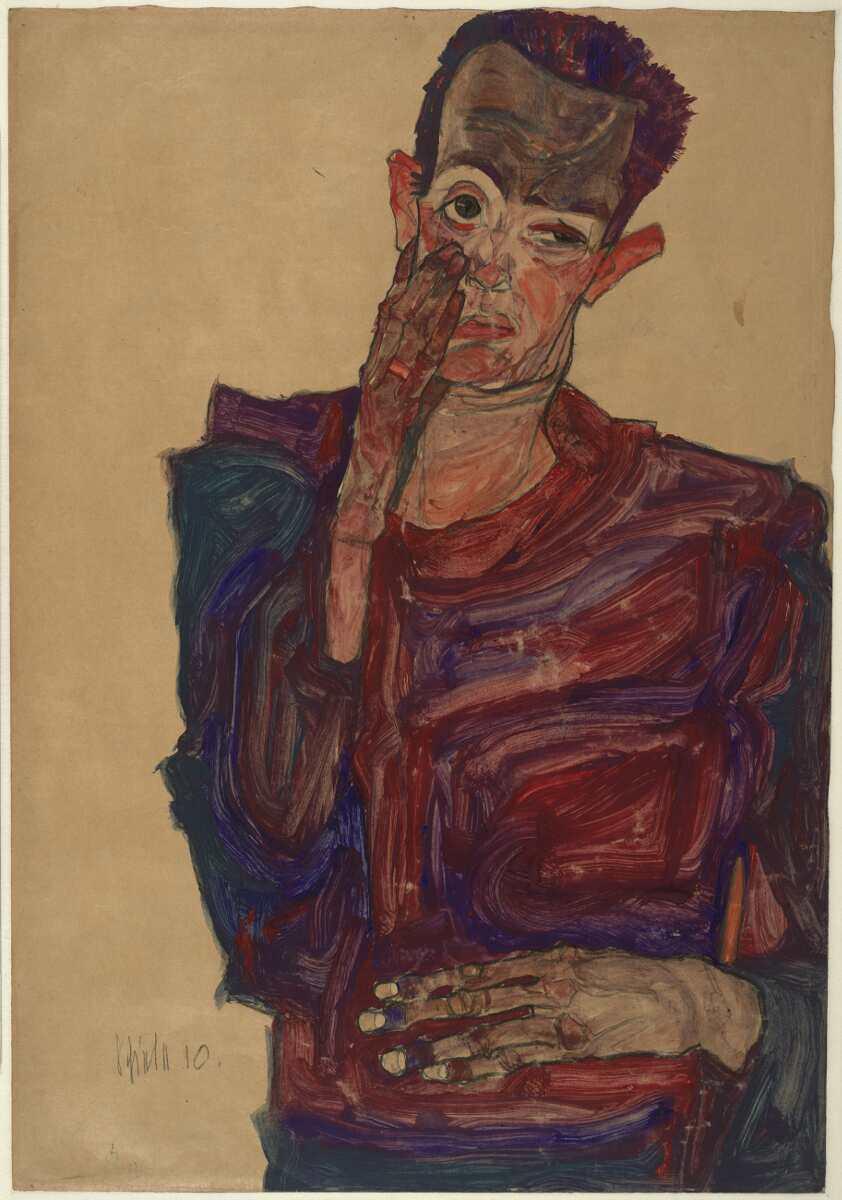 Egon Schiele, Selbstbildnis mit herabgezogenem Augenlid, 1910, Kreide, Pinsel, Aquarell, Deckfarben auf braunem Packpapier (Albertina, Wien)
