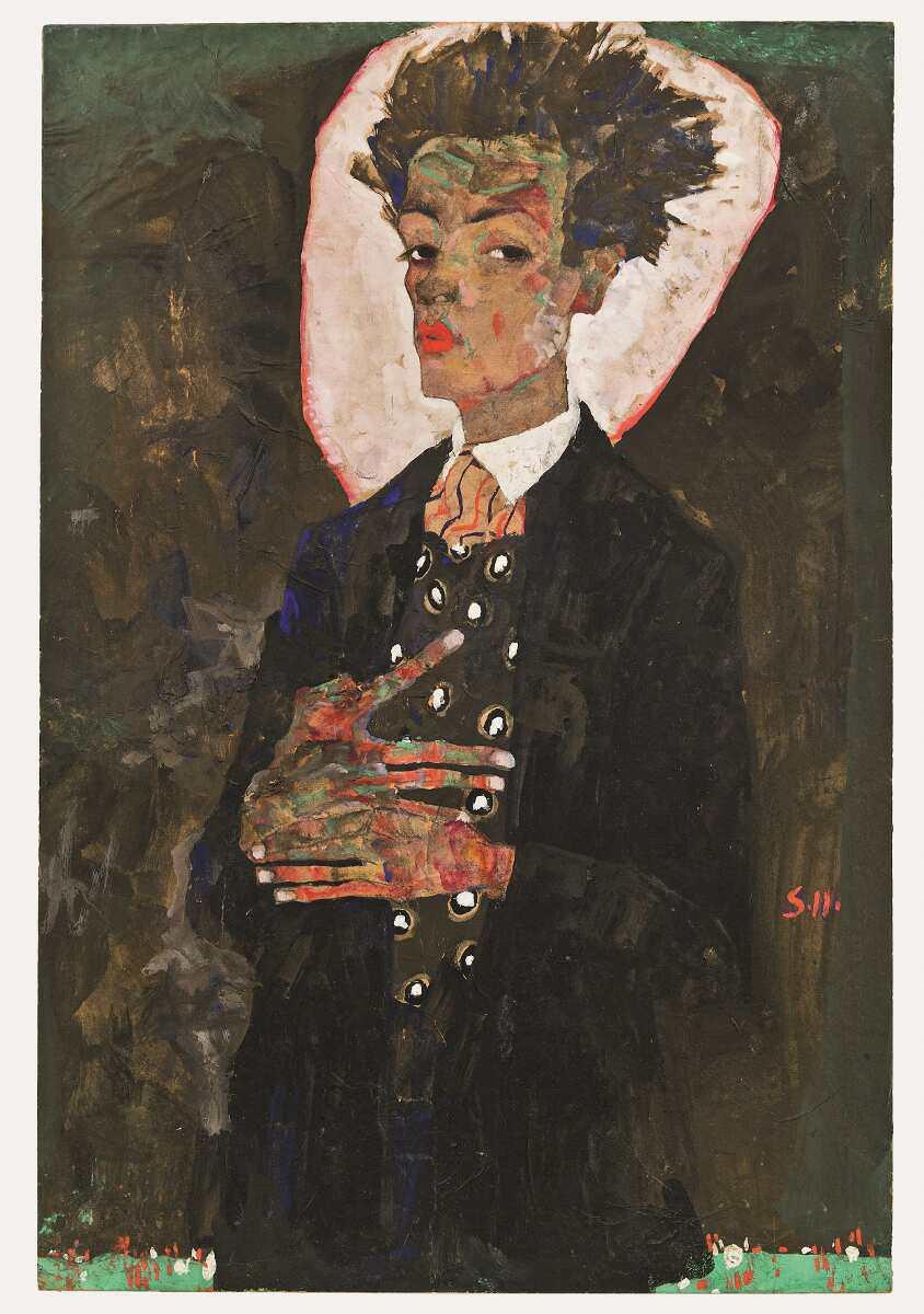 Egon Schiele, Selbstporträt mit Pfauenweste, 1911, Gouache, Tempera, Aquarell und blaue Kreide auf Papier, auf Karton aufgezogen (© Sammlung Ernst Ploil)