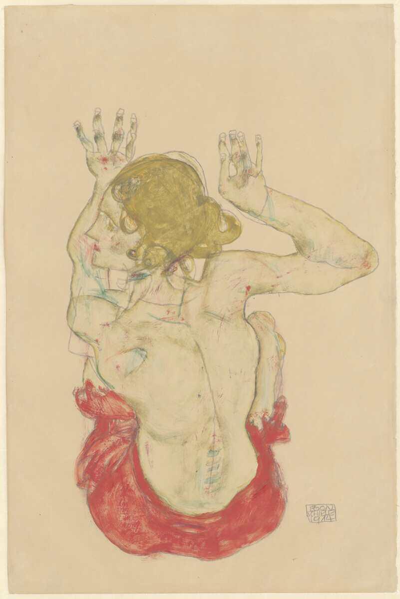 Egon Schiele, Sitzender weiblicher Rückenakt mit rotem Rock, 1914, Bleistift, Deckfarben, Aquarell, auf Japanpapier (Albertina, Wien)