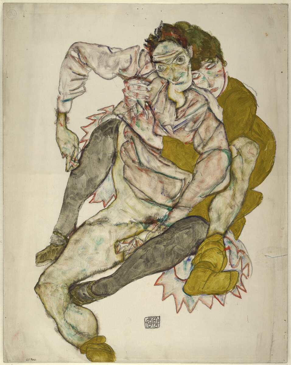 Egon Schiele, Sitzendes Paar, 1915, Bleistift, Pinsel und Aquarell (© Albertina, Wien)
