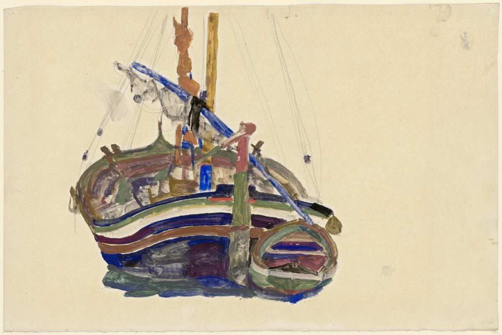 Egon Schiele, Triestiner Fischerboot, 1912, Bleistift, Aquarell, Deckfarben auf Strathmore Japanpapier (Albertina, Wien)