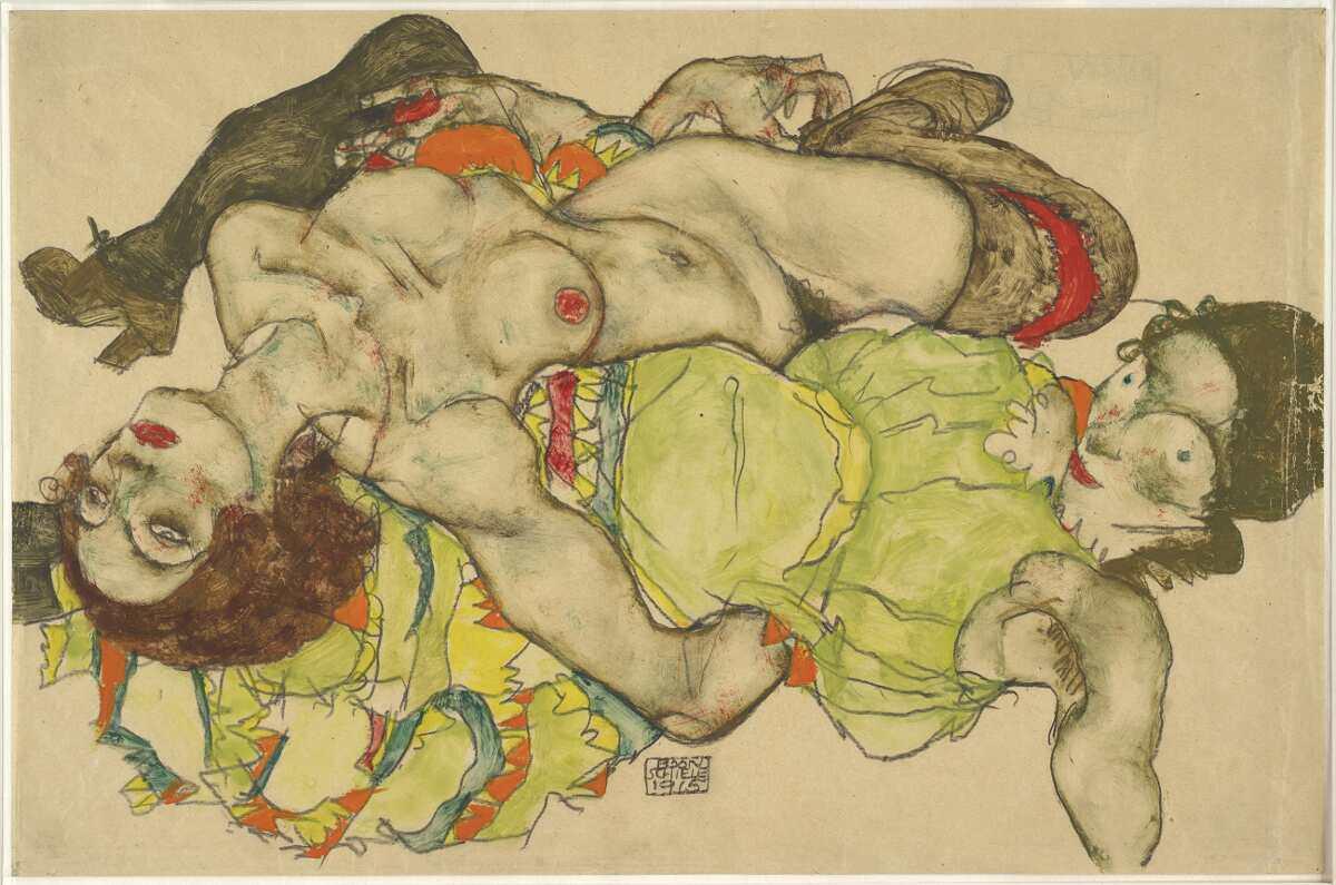 Egon Schiele, Weibliches Liebespaar, 1915, Deckfarben, Bleistift (Albertina, Wien)