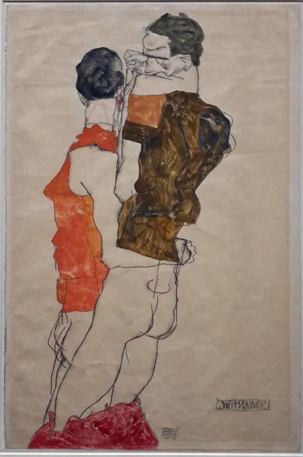 Egon Schiele, Zwei Männer, 1913, Deckfarben, Bleistift auf Strathmore Japanpapier, grundiert, 48 x 31,5 cm (Albertina)