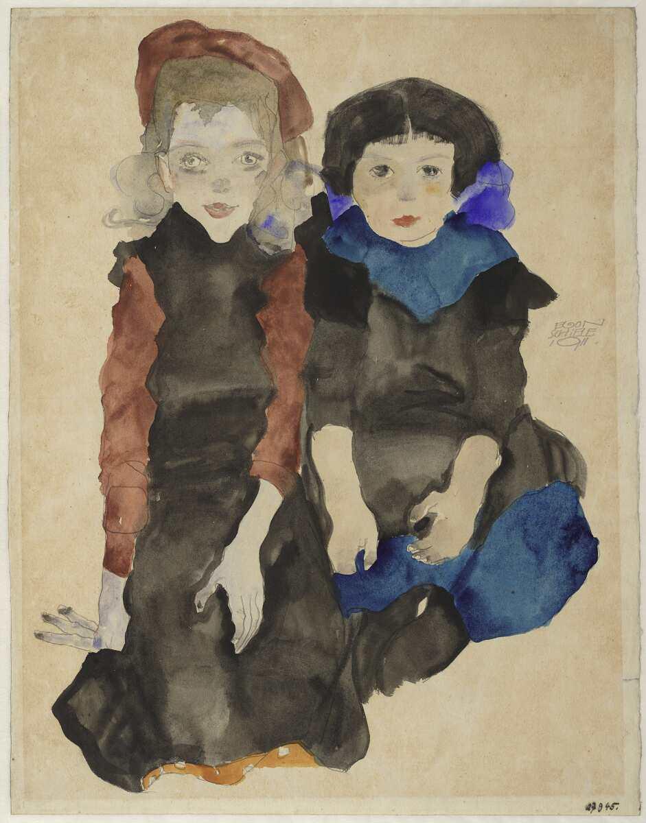 Egon Schiele, Zwei kauernde Mädchen, 1911, Bleistift, Aquarell und Deckweiß auf Japanpapier (© Albertina, Wien)