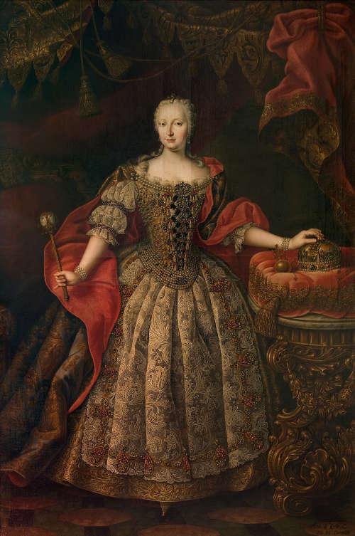 Daniel Schmidely, Maria Theresia im ungarischen Krönungskleid, 1742, Öl auf Leinwand, 237,5 x 157 cm © Galéria mesta Bratislavy