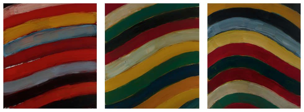 Sean Scully, Landline Bend Triptych, 2017, Öl/Aluminium, 3-teilig, je 215,9 × 190,5 cm (Privatsammlung © Sean Scully, Foto: Robert Bean)